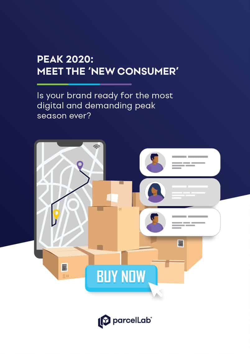 parcellab peak 2020 infographic cover of smartphone boxes notifications