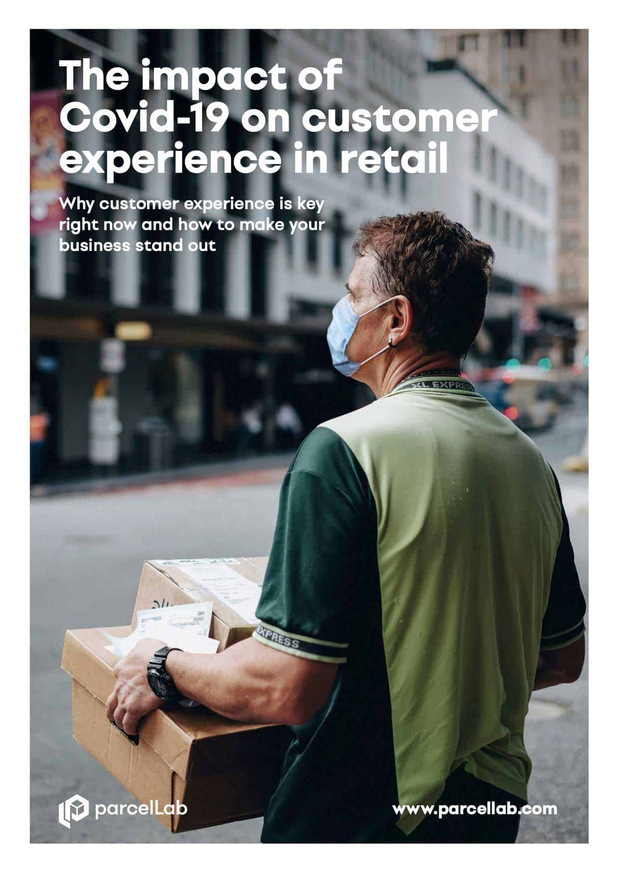 parcellab impact of covid-19 on customer experience thumbnail of man with mask delivering packages