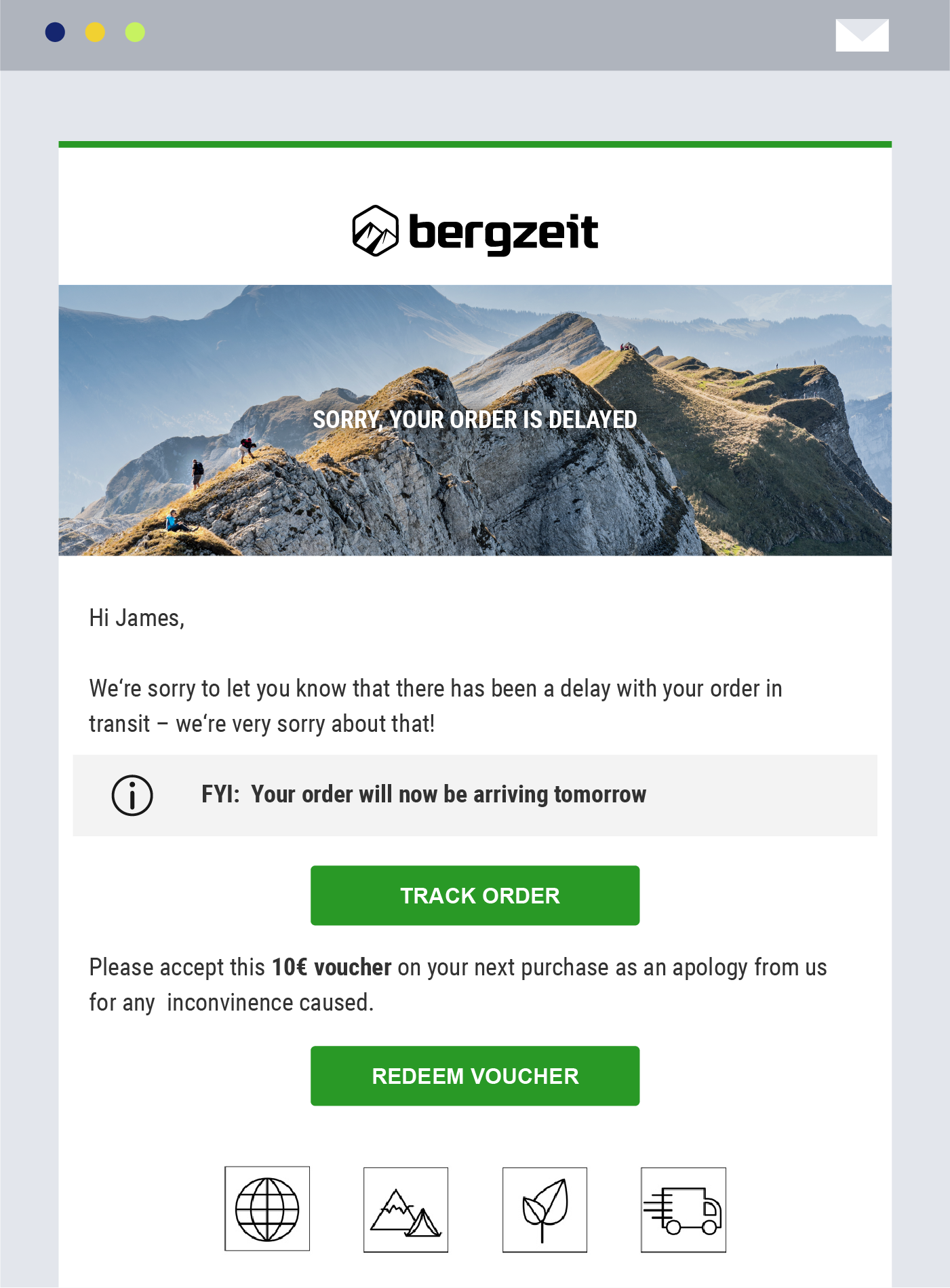 bergzeit delivery tracking platform notification order delay