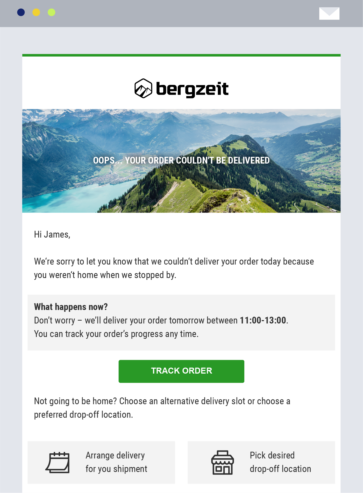 bergzeit delivery tracking platform notification order update