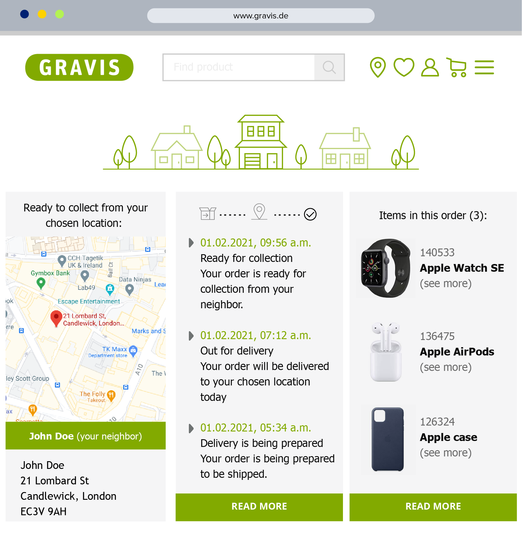 gravis apple delivery tracking platform interface with google maps